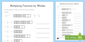 Multiplying Fractions by Wholes with Visual Support Activity Sheet - multiplying fractions, fractions, whole numbers, multiplying fractions by whole numbers, repeated ad