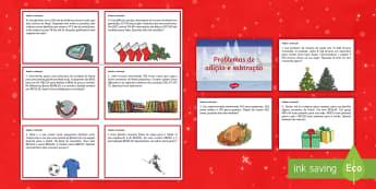 Natal, problemas de adição e subtração  - natal, natais, celebraçao, festa, natividade, solsticio de inverno, inverno, pai natal, papai noel,