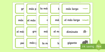 Size Word Cards Spanish  - Spanish, Vocabulary, KS2, size, word, cards,Spanish