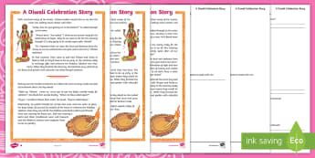 KS2 A Story about Diwali Differentiated Reading Comprehension Activity - Hindu, Rama, Sita, Light, Festival