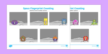 Space Fingerprint Counting Activity Sheet Pack - EYFS activities, number, EAD, aliens love underpants, worksheet