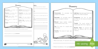 Glossary Activity Sheet - Text features, nonfiction, informational Text, Bold Words, key words, vocabulary, word work, workshe