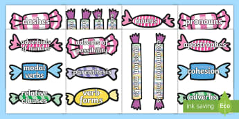 Year 5 Writing Expectations Pick and Mix Display Cut-Outs - working wall, literacy, appendix 2, targets, sweets, spag, gps