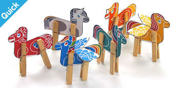 Enkl Little Pony Peg Animals Printable - Enkl, arts, crafts, activity, adult, home, decor, designer, designer, decoration, interior, project, printable, cute, simple, paper, models, 3D, shape, colour, geek, clean