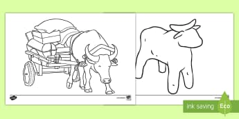 The Cow and the Buffalo Colouring Pages - Traditional Thai Tales, cow, buffalo, tales,
