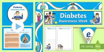 Diabetes Awareness Week Resource Pack - diabetic, insulin, glucose, pancreas, type 1, type 2,