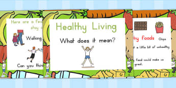Healthy Eating and Living PowerPoint - health, food, fruit, veg