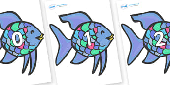 Numbers 0-31 on Rainbow Fish to Support Teaching on The Rainbow Fish - 0-31, foundation stage numeracy, Number recognition, Number flashcards, counting, number frieze, Display numbers, number posters