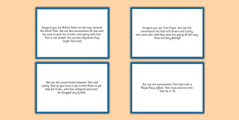 Tom Crean Drama Cards - Tom Crean, Irish History, South Pole, Antarctica, drama cards, improvisation, freeze frame