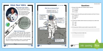 KS1 Edwin 'Buzz' Aldrin Differentiated Reading Comprehension Activity - english, Literacy, Moon, Neil Armstrong, Astronaut, Space, Rocket,