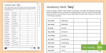 Vocabulary Bank: 'Very' Activity Sheet - synonyms, Very, Vocabulary, Word bank, adjectives, language, describing, descriptive, description