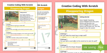 Disappearing Dragon Scratch Activity Sheet - worksheet, computing, programming, coding, algorithms, instructions, commands, Scratch