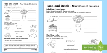 Food and Drink Activity Sheet English/French - Familiar Topics Activity Sheets, worksheet,Worksheet, fruit and vegetables, pasta, meat