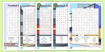 Siopadóireacht Word Search Pack Gaeilge - irish, gaeilge, word search, pack, shopping, town, transport, siopadóireacht