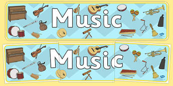 Music Display Banner - Music, display, banner, instrument, playing instruments, piano, drums, guitar, recorder, violin, triangle, cymbals, notes, music