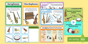 CfE Musical Instruments Second Level Resource Pack - Orchestra, Woodwind, Brass, Percussion, Strings, sorting activity,