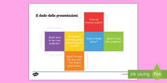 Il dado delle domande di introduzione per la nuova classe Attività - compagni, nuovo, anno, italian, italiano, materiale, scolastico