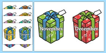 Months on Birthday Presents Urdu Translation - urdu, Months poster, Months display, Months of the year, birthdays, presents