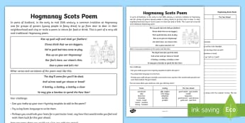 CfE Second Level Hogmanay Scots Poem Worksheet / Activity Sheet - New Year, Scotland, Scottish, traditions, celebrations, events,Scottish, worksheet