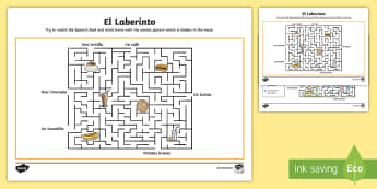 Spanish Food and Drink Maze Puzzle - Spain, languages, bebidas, comida, learn a language, food, drink