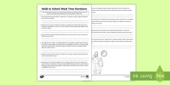 CfE Second Level Walk to School Week Time Durations Activity Sheet-Scottish - CfE Walk to School Week 2017 (15th-19th May) JRSO, Second Level, 2nd Level, Walk to School Week, Tim