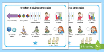 Problem-Solving Strategies Word Mat - tips, glance card,vocabulary, working wall, Irish
