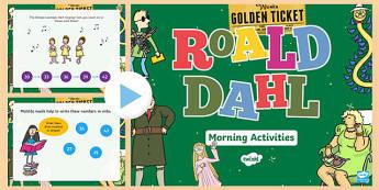 Roald Dahl Themed Year 2 Morning Activities PowerPoint-Welsh