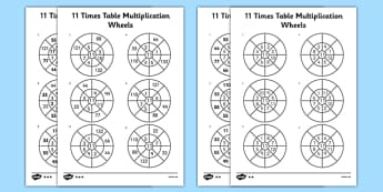 11 Times Table Multiplication Wheels Activity Sheet Pack - 11, times table, multiplication, wheel, activity, worksheet, times tables