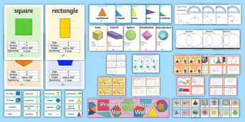LKS2 Properties of Shapes Working Wall Display Pack - maths display, classroom display, 2d shapes, 3d shapes, symmetry, angles, turns, challenge cards, ye