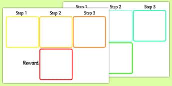 Visual Timetable Steps and Reward - reward display, 3 step reward display, reward visual timetable, steps to get reward display, rewards poster, award, sen