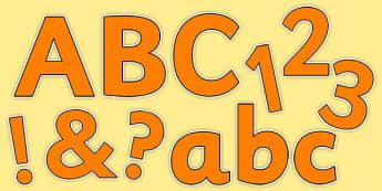 Orange Colour Display Lettering - display, classroom, colour, decorate, ks1, ks2, eyfs
