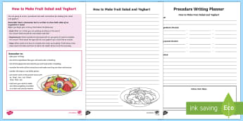 Year 5 Procedure Writing: How to Make Fruit Salad and Yoghurt Activity Sheets-Australia - Literacy, australia, australian curriculum, english, text type, procedural, procedure, naplan, asses