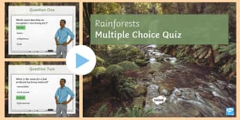 Rainforests Quiz PowerPoint - key terms, test, glossary, ks4, gcse, living world