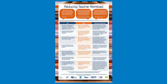 DfE Reducing Teacher Workload Poster - marking, eliminating, stress, management, wellbeing, staff, advice, government