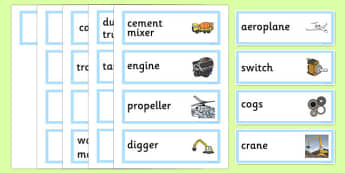 Machines Topic Word Cards - machines, machinery, aeroplane, crane, cogs, topic, cards, word cards, flashcards, engine, propeller, digger, switch, types, type, different, machine