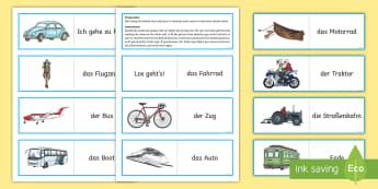 Transport Card Game - German / Deutsch-Scottish - Travel, Transport, Game, MFL, German, Languages,Scottish