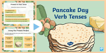Pancake Day Themed Verb Tenses PowerPoint - ESL Pancake Day Resources