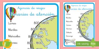 * NEW * Cartel: Horarios de atención en agencia de viajes - Vacación, vacaciones, viaje, viajes, mundo, el mundo, turismo, turista, turístico, turística, rol