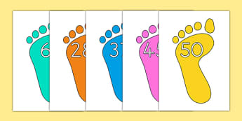 Numbers 0 50 on Footprints - number, 0-50, footprint, counting