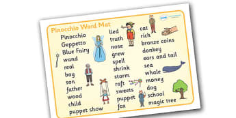 Pinocchio Word Mat (Text) - Pinocchio, Geppetto, Blue Fairy, wand, father, word mat, writing aid, mat, text, boy, puppet, puppet show, cat, dog, ears and tail, nose, magic tree, coins, raft, school, son, child, shrink, story, story book, story resour
