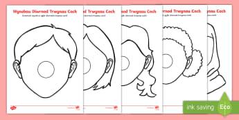 Taflenni Gweithgaredd Templedi Wynebau Diwrnod Trwynau Coch - trwynau coch, diwrnod trwynau coch, trwyn coch, comic relief welsh, comic relief cymraeg, red nose d