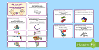 * NEW * Fine Motor Skills Challenge Cards - English / Spanish - challenges, detail, steady, hand, puzzles, EAL, motor, motor skills, challenge, crafts