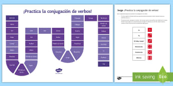 Practising Verb Tenses Board Game Spanish - Spanish Grammar, conjugation, verb tenses, board game