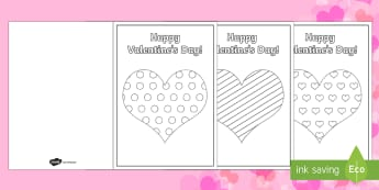 Valentine's Day Heart Colouring in Cards - Valentine's Day,  Feb 14th, love, cupid, hearts, valentine,