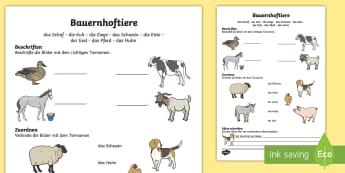 Bauernhoftiere Arbeitsblatt - spring, farm, animals, sheep, goat, cow, pig, duck, donkey, Bauernhof, Frühling, Tiere, Bauernhofti