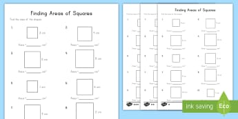 Finding Areas of Squares Differentiated Worksheet / Activity Sheets - squares, area, measurement, differentiation, multiplication