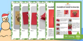 Handafdruk Rudolf Kerskaartjie Kunsvlyt Instruksies - Desember, fees, takbok, kuns, maak, kreatief, papier