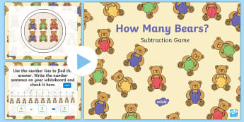 How Many Bears? Subtraction PowerPoint Game - Using quantities and objects, add and subtract two single-digit numbers, count on or back to find th