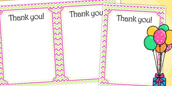 Zig Zag Birthday Party Thank You Cards Pink And Green - birthdays