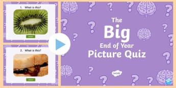 KS1 The Big End of the School Year Picture Quiz PowerPoint - game, team, class, year 1, year 2, what am i, objects, close up, game